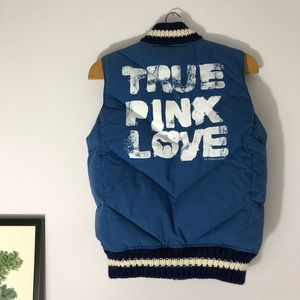 VS Pink Love muted blue puffer vest Sz XS